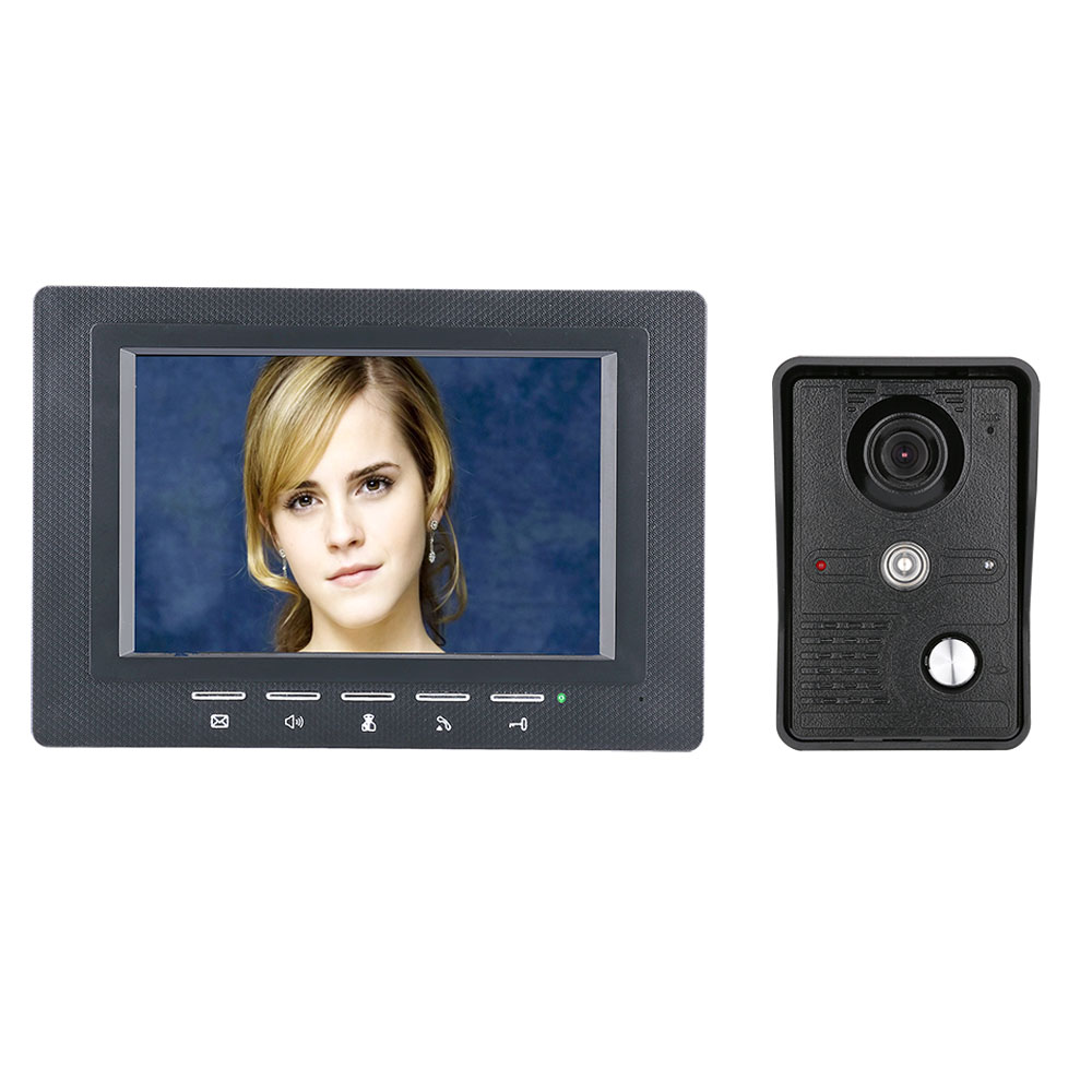 7 Inch Video Door Phone Doorbell Intercom Kit 1-camera 1-monitor Night Vision With IR-CUT CMOS 700TV Lines