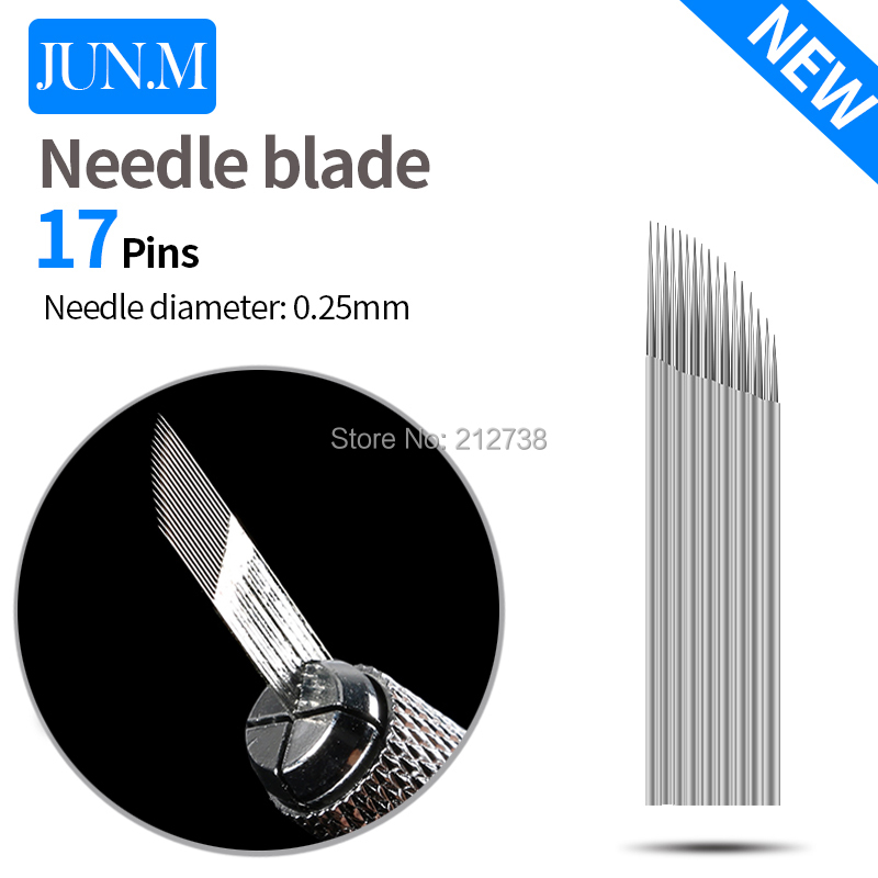 0.25mm 100 PCS 17 Pin Tattoo Needles Eyebrow Permanent Makeup Tattoo Blade For 3D Embroidery Manual Microblading Pen