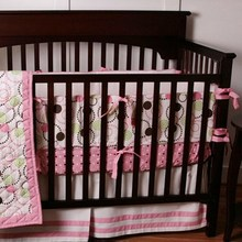8 Pc bedroom newborn baby crib bedding set for girls,circle pink quality infant cot nursery bedding plush quilt