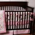 8 unid dormitorio bebé recién nacido cuna bedding set for girls, círculo rosa calidad cuna de bebé nursery bedding colcha de felpa