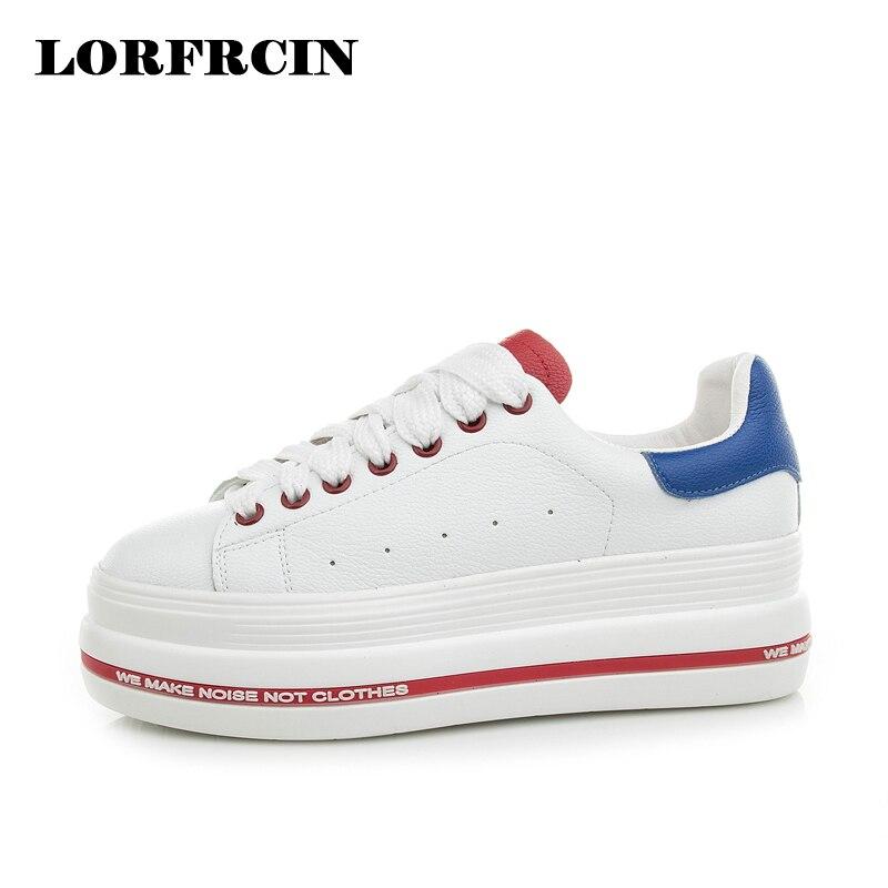 LORFRCIN 2018 Moda de estilo de cuero genuino de las mujeres zapatos casuales zapatos de plataforma de alta calidad pisos de alta calidad zapatos blancos mujer