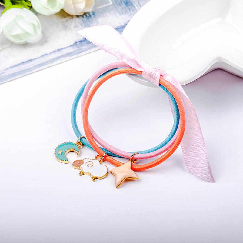 Three-layer Ribbon Bowknot Star Moon Cloud Elastic Hair Bands Ponytail Holders Headwear Hair Accessories for Women & Children