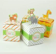 100pcs New 2018 Rain Forest Animal baby born Candy Box size 5.5cm