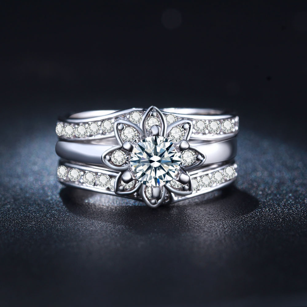 flower cz finger 3pc women wedding ring sets luxury lovers gift new lady jewelry fine engagement finger rings