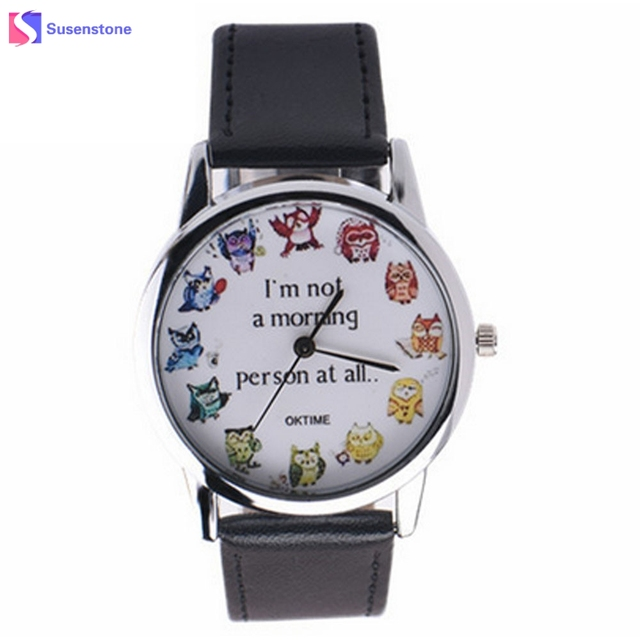 Faux Leather Watch Men Women OWL printing Analog Quartz Vogue Unisex Casual Spor