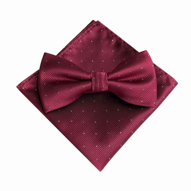 7 Color Men's Fashion Bowtie Hanky Set Groom Gentleman Dots Cravat Pocket Towel Handkerchief Wedding Party 3