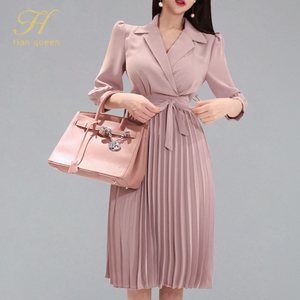 H Han Queen Women's 2019 New Notched Neck Pleated Dress Draped Lace Up Bow A-line Dresses OL Elegant Work Wear Business Vestidos