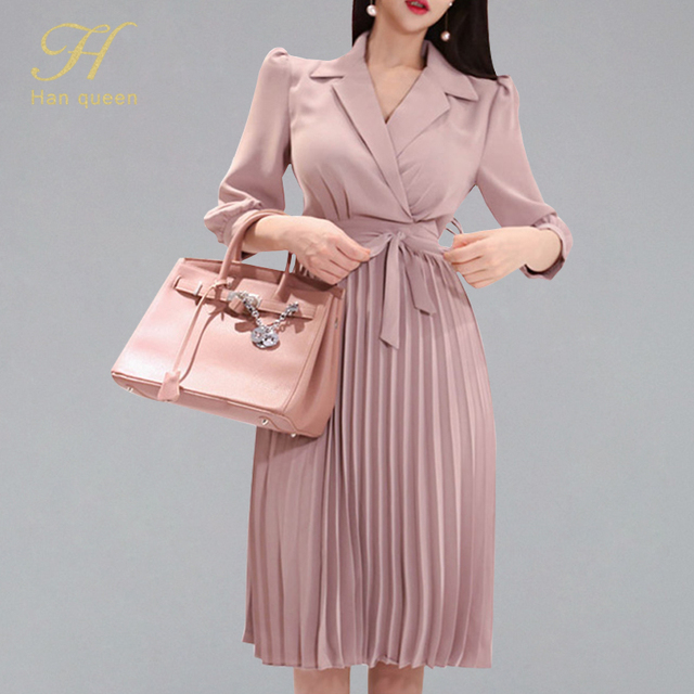 H Han Queen Womens 2019 New Notched Neck Pleated Dress Draped Lace Up Bow A line Dresses OL Elegant Work Wear Business Vestidos