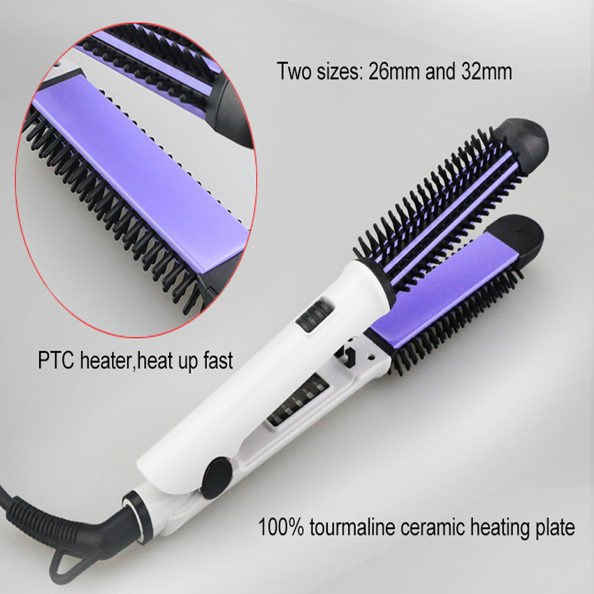 Free Shipping New Fast Hair Straightener Brush With Hair Iron Hair Curler Comb And Message 2 in 1 Multifunctional Styling Tool