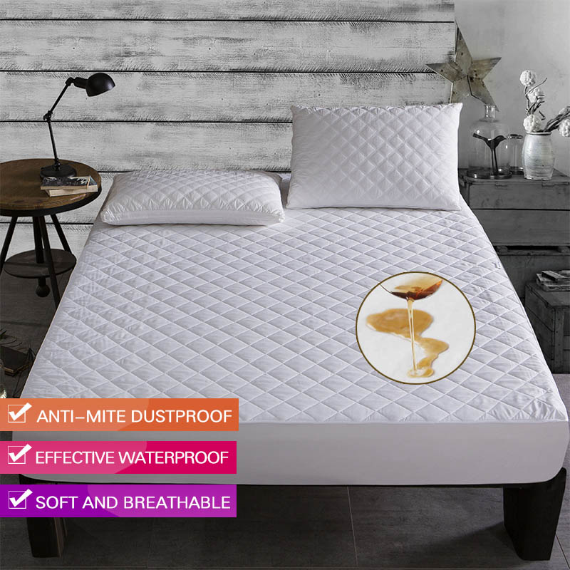 Brushed Fabric Waterproof Mattress Protector Waterproof Bed Sheet Anti Mite Matress Protector Couvre Lit Mattress Bed Cover 1PC