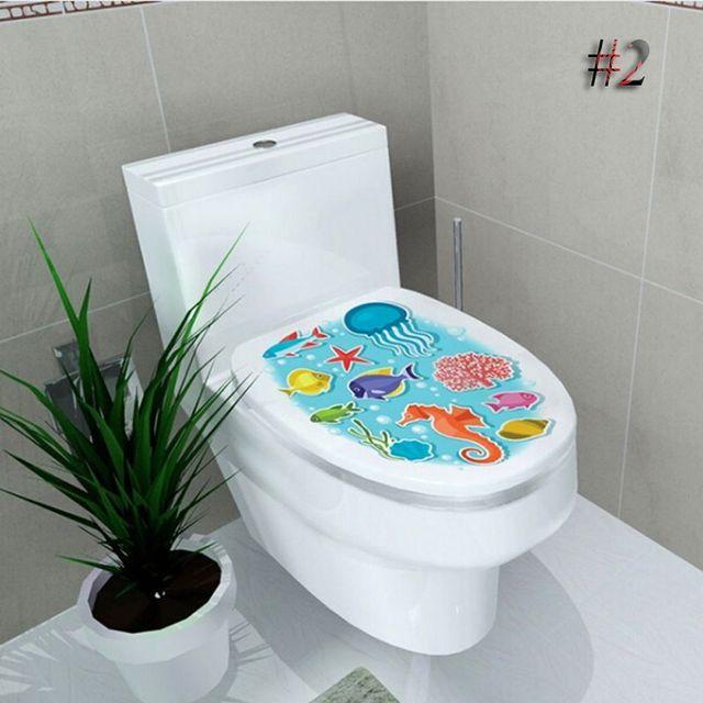 Sticker Pan WC Pedestal Cover Stool Toilet Commode Home Decor Bathroom Printed Flower Views