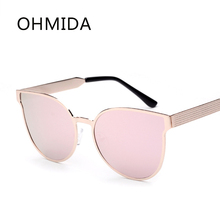 OHMIDA Cateye gafas de Sol Mujeres de la Nueva Manera de La Alta Calidad de Lujo Diseñador de la Marca Gafas de Sol de Metal Gafas de Espejo Gafas De Sol Gafas