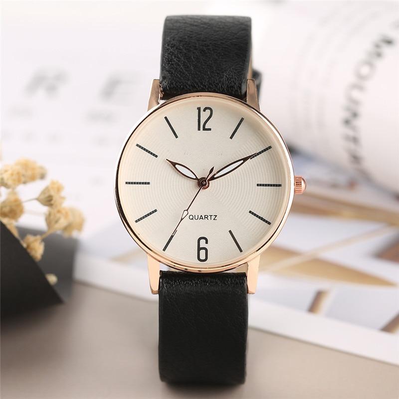 Fashion Elegant Number Analog Women Watches Quartz Simple Style Wristwatch Gifts with Leather Watchband Strap l 10 women s stylish petals style bracelet quartz analog wristwatch golden white 1 x lr626