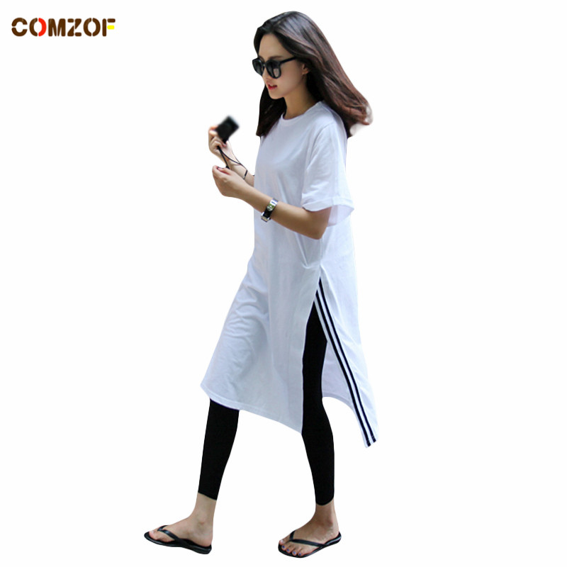 wholesale best shoes stable quality US $11.5 8% OFF|Women oversized long t shirt side split striped korean tee  shirt femme woman punk rock hipster tops big size clothes-in T-Shirts from  ...