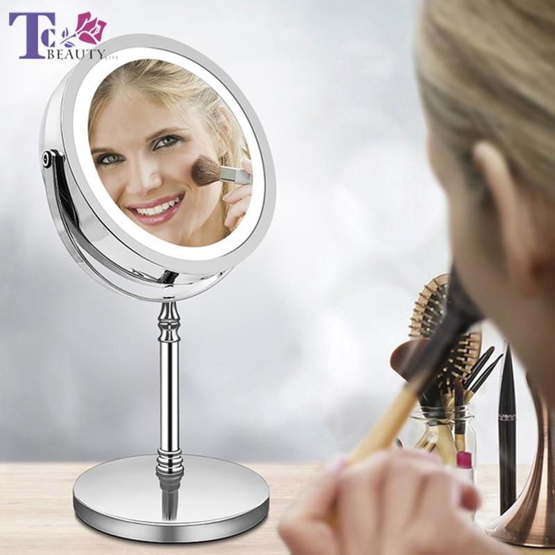 Vergrößerungs Make-up Spiegel Mit Licht 7 Zoll 10x Doppelseitige Rotation Desktop Stehen 18led High Definition Klarheit Kosmetik Spiegel Kann Wiederholt Umgeformt Werden. Spiegel