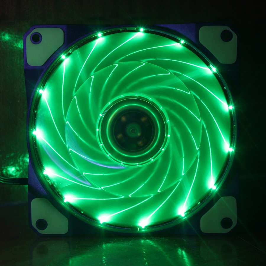 Gdstime 1 pcs Green Light LED Fan 120mm x 25mm Computer PC Cooling Fan 12v 3 Wire 3 Pin 4 Pin 12cm Mute Cooler цена