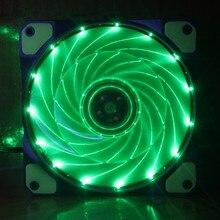 Gdstime 1 pcs Green Light LED Fan 120mm x 25mm Computer PC Cooling Fan 12v 3 Wire 3 Pin 4 Pin 12cm Mute Cooler