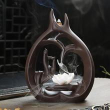 仏手逆流香炉煙滝蓮の花スティック香ホルダー瞑想セラミックアロマ香炉