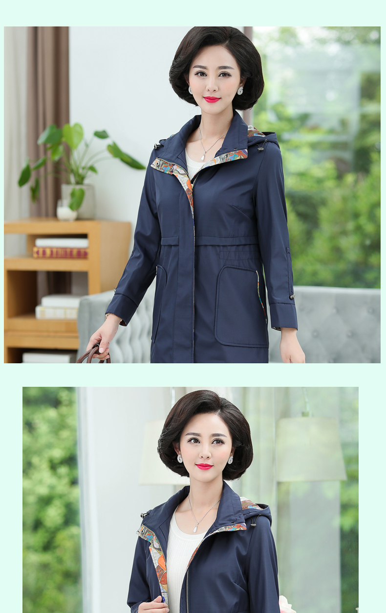 British Style Woman Casual Trench Coat Purple Navy Blue Duster Coats Women Hooded Overcoat Autumb Spring Trenches Outerwear (10)