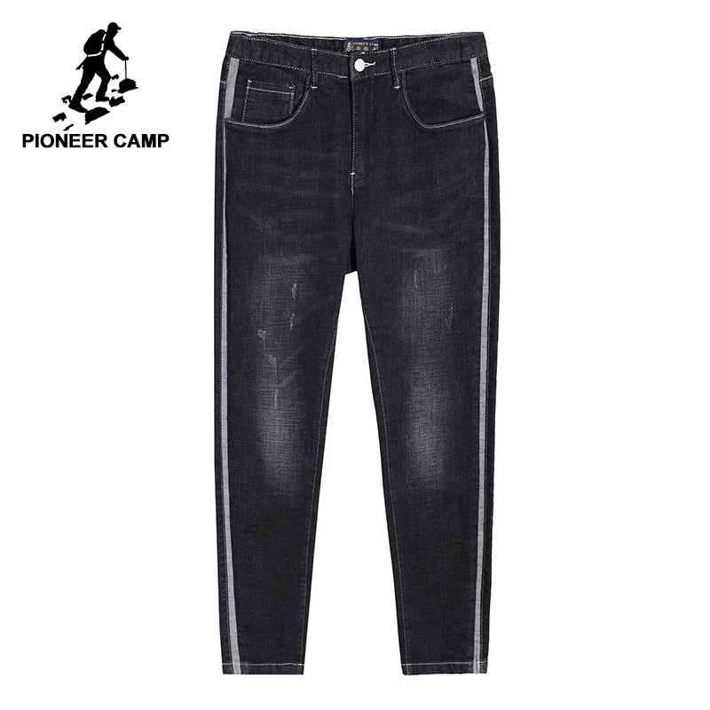 Pioneer camp new   jeans   men brand clothing grey striped distressed   jeans   pants straight trousers male quality   jeans   men ANZ803414
