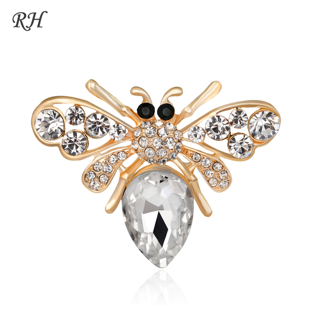 a05181f18f6 Vintage Big Metal Rhinestone Bee Brooch For Women Dress Scarf Collar Pins  Corsage Large Animal Brooch Pins Badges Jewelry