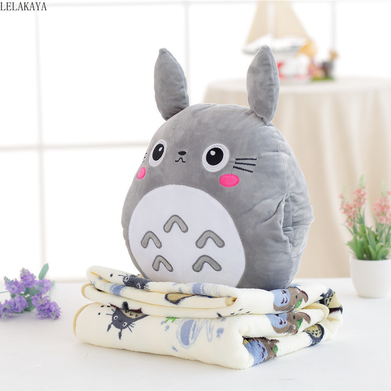 1pcs Japan Plush Totoro Plush Cute Soft Flannel Pillow With Blanket 3 In 1 Stuffed Hand Warmer Cushion Hanging Ornament Doll Toy