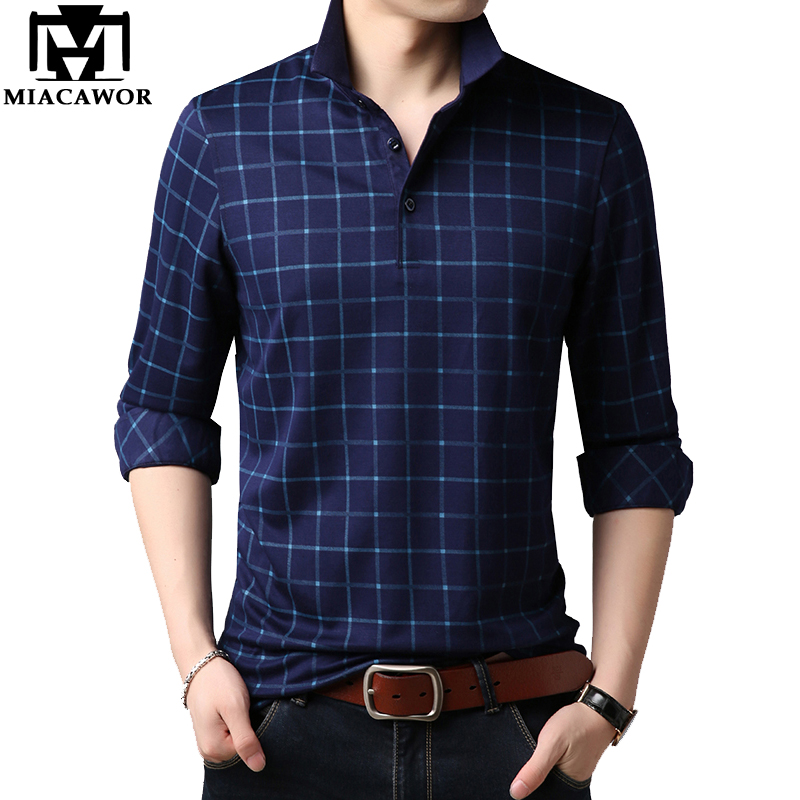 MIACAWOR New Top Quality Men   Polo   Shirt Casual Plaid   Polo   Homme Spring Full sleeve Camisa   Polo   Masculina Tops Tees T675