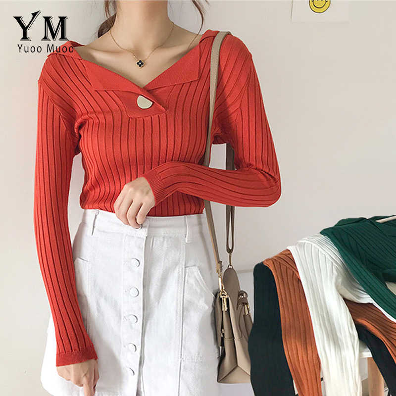 205c142a48 YuooMuoo New Fashion Single Button Design Sweater Women Turn-down Collar  Pullover Slim Knit Sweater