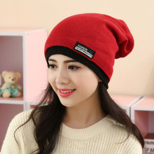 New Women's Solid autumn and Winter Hats hat and scarf It takes women's