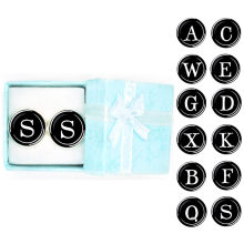 New Arrival Fashion Letter A D R H M Cufflinks The English Alphabet Cuff Links Men Shirt Charm with Box Wholesale