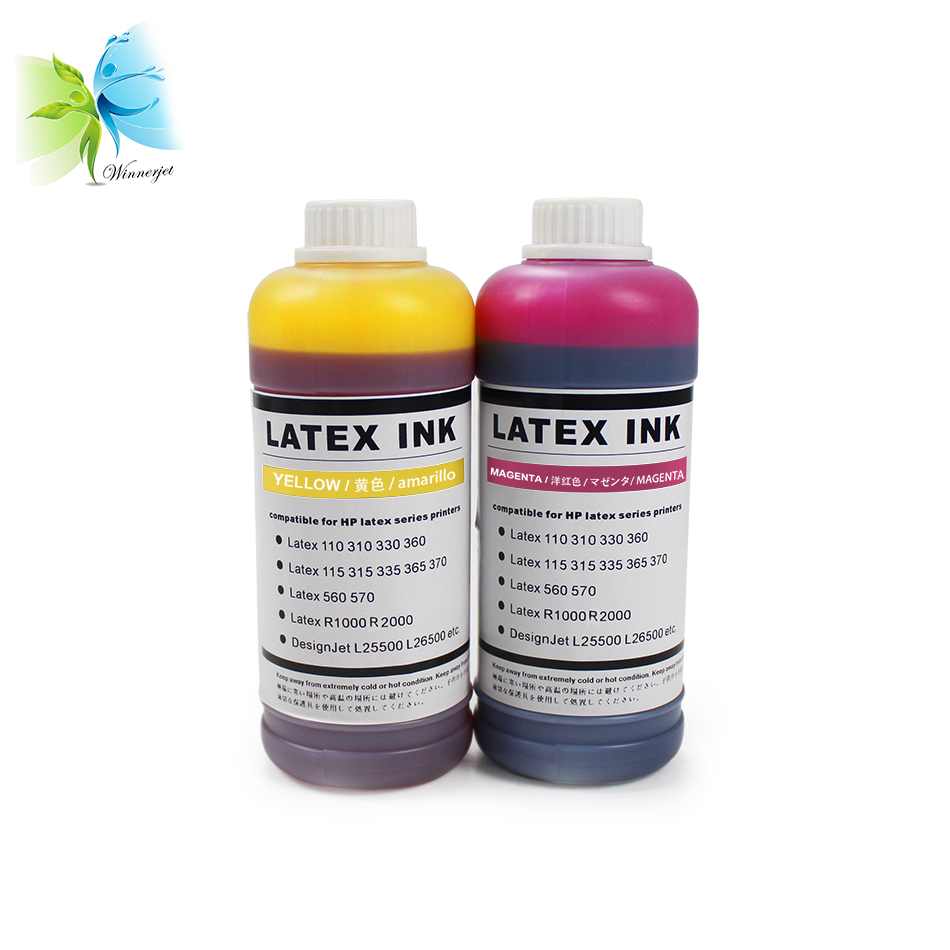 US $235 0  Winnerjet 1000ML/bottle 6 colors Latex ink for Hp Designjet  L25500 L26500,L28500,260,280 printer replacement high quality ink-in Ink  Refill