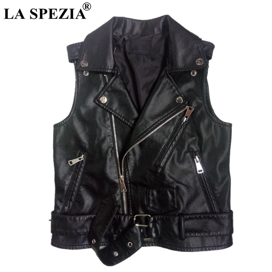 LA SPEZIA Biker Waistcoats Women Motorcycle Rock Zippers Vest Black Ladies Belt Punk Leather Pockets Autumn Sleeveless Jackets