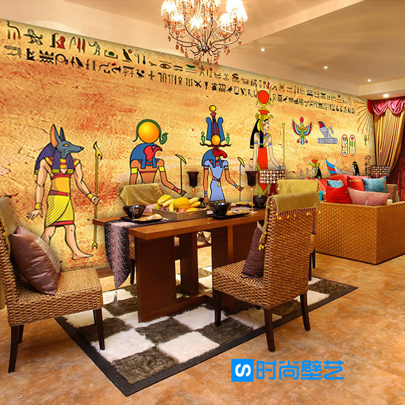 Custom mural  retro nostalgic wallpaper restaurant Lounge Bar Cafe background ancient Egyptian character culture wallpaper mural