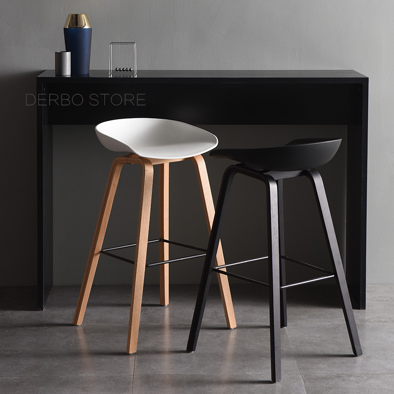 Popular Modern Design Solid Wooden Plastic Bar Chair Northern Wind Fashion Creative Denmark Kitchen Room Nordic Counter Stool(China)