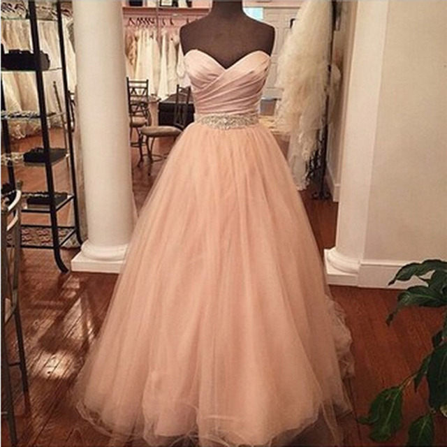2017 Rose Gold Prom Dresses Long Sweetheart A line Tulle Prom Gown ...