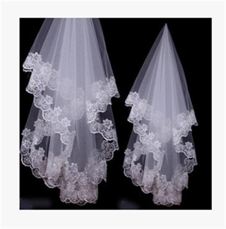 0,5 Meter Weiß Elfenbein Longwedding Schleier Spitze Rand Braut Schleier Mit Kamm Flowewedding Zubehör Braut Muslimischen Hochzeit Schleier