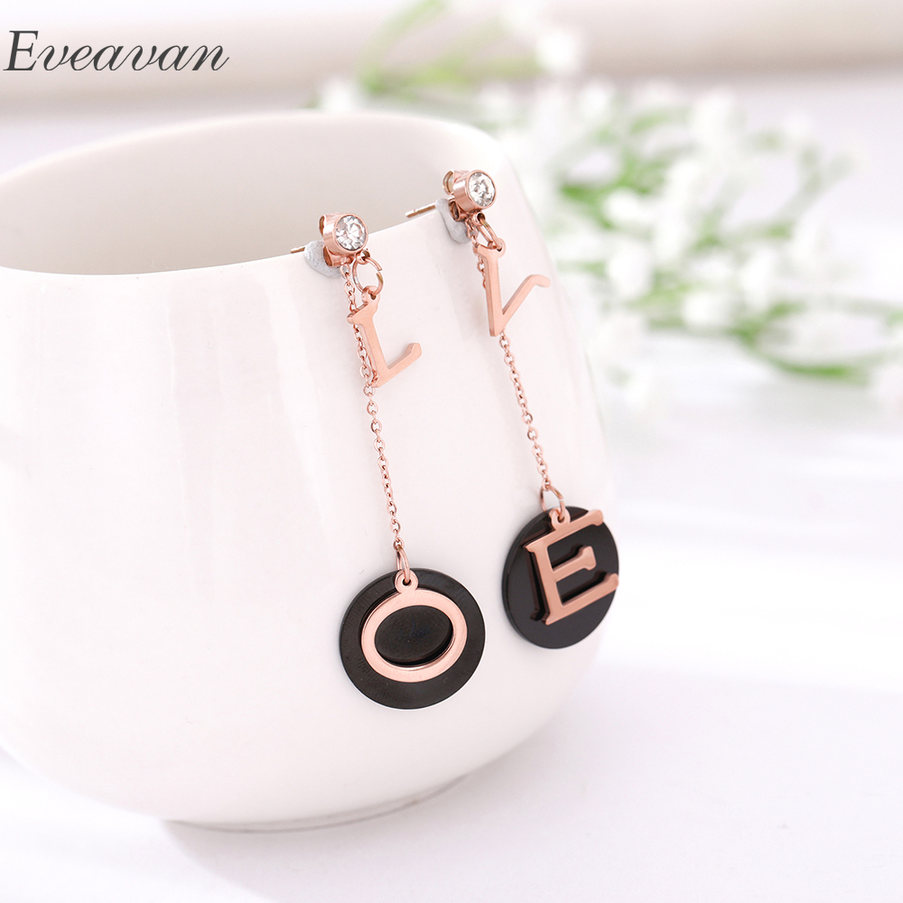 EUEAVAN 5 Pairs Exquisite Long Drop Dangle Earrings Round Geometric Love Jewelry Women Ear Decoration Girls For Wedding Party