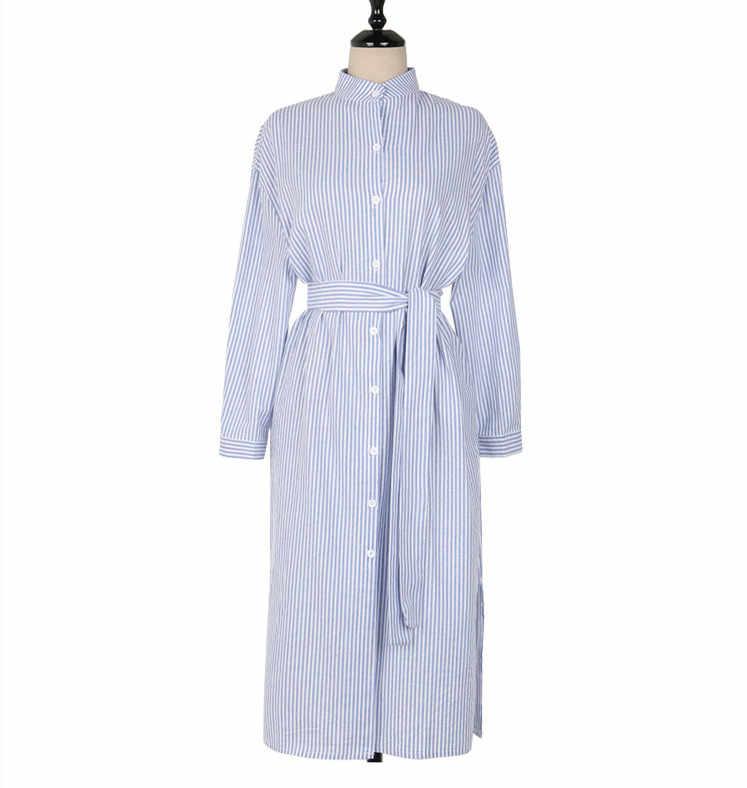 Colorfaith 2019 여성 드레스 봄 가을 우아한 캐주얼 스트라이프 셔츠 드레스 코튼과 리넨 레이스 싱글 Breated DR1800