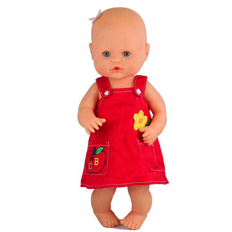 Doll Clothes Fit 35cm Nenuco Doll Nenuco Ropa Baby Realistic Reborn Doll Accessories Bright Red ABC Pockets Suspender Dress
