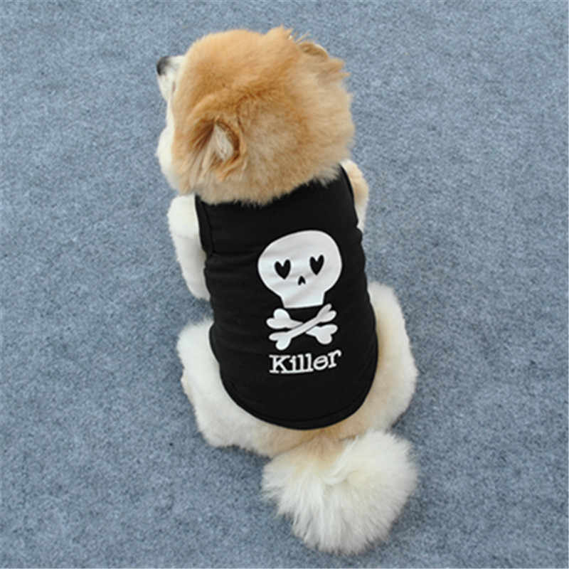 Pet Puppy Summer Vest Small Dog Cat Dogs skull Clothing Cotton T Shirt Apparel Clothes Dog Shirt XS-L