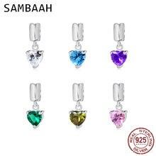 купить Sambaah Dangle Heart CZ Stone Charm Beads 925 Sterling Silver Love Pendant fit Original Pandora Valentine's Day Bracelet дешево