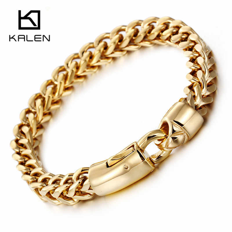 Kalen Dubai Gold Color Link Chain Bracelet For Men Stainless Steel Jewelry High Polished Hand Chain Accessories Birthday Gifts