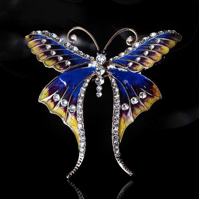 Vintage Cloisonne Enamel Crystal Rhinestone Brooch Pins Fashion Butterfly  Women Party Brooch Jewely