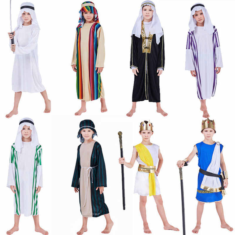 Umorden Child Arab Arabian Sheik Prince King Costume Kids Arabian Nights Costumes Cosplay for Boys Halloween Carnival Dress Up
