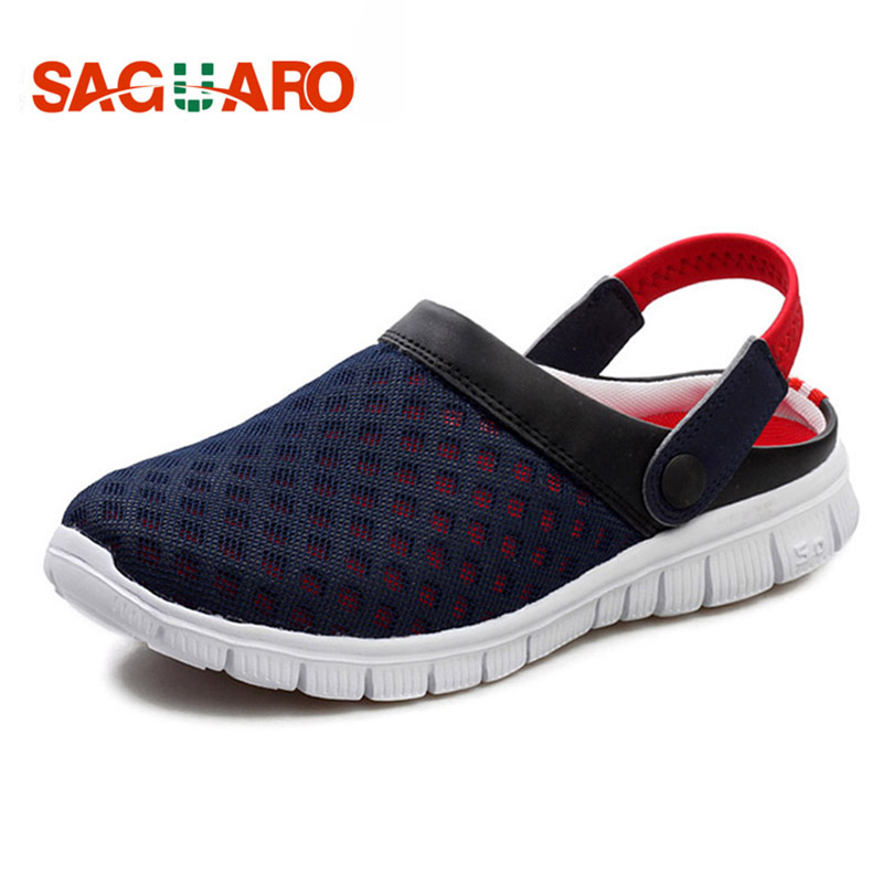 SAGUARO Summer Men Slippers Shoes 2019 Fashion Mesh Slippers Unisex Beach Sandals Casual Flat Slip On Flip Flops Zapatos Hombre