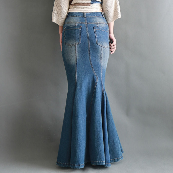 Image 3 - Big Fish Tail Denim Skirt Women Long Skirt Floor Length Patchwork Mermaid Trumpet Empire High Waist Jeans Stretchy J92792-in Skirts from Women's Clothing