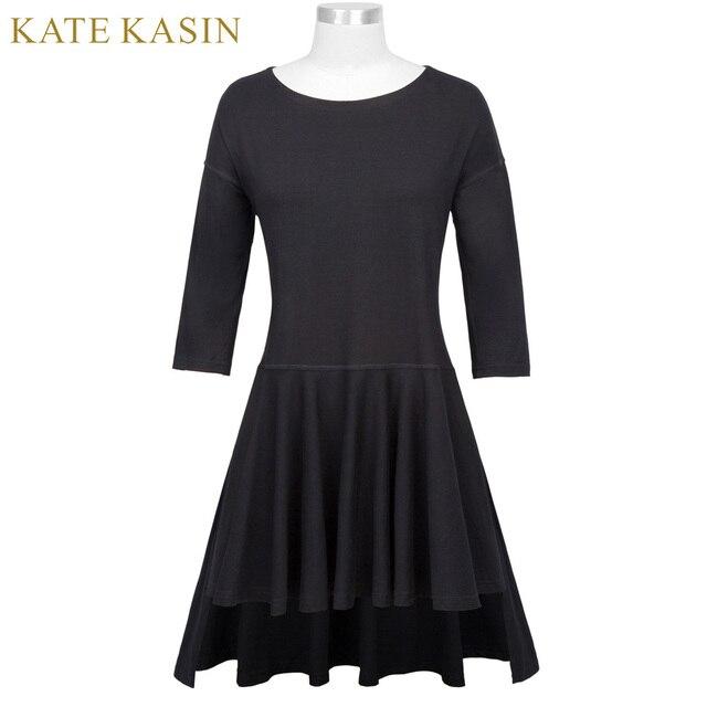 475d8e37f60e Kate Kasin Woman s Casual Loose 3 4 Sleeve Crew Neck Dresses Women Side  Split Design
