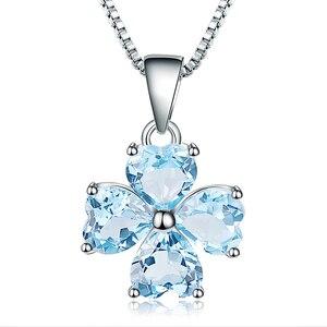 Image 5 - GEMS BALLET 3.83Ct Natural Sky Blue Topaz Gemstone Pendant 925 Sterling Silver Clover Pendant Necklace For Women Fine Jewelry