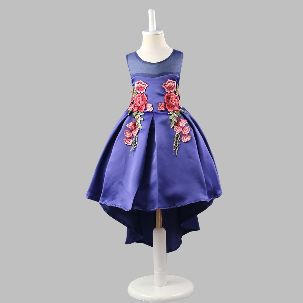 Little kids Flower Girl Wedding Party Prom Pageant Dress Satin with Train In White Red Pink Navy Blue Dress for Girls in stock layered pre teen party gowns little girls pageant dress pink color