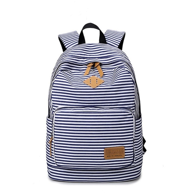School Bags For Teenagers Girls Canvas Backpacks Cute Stripped ...